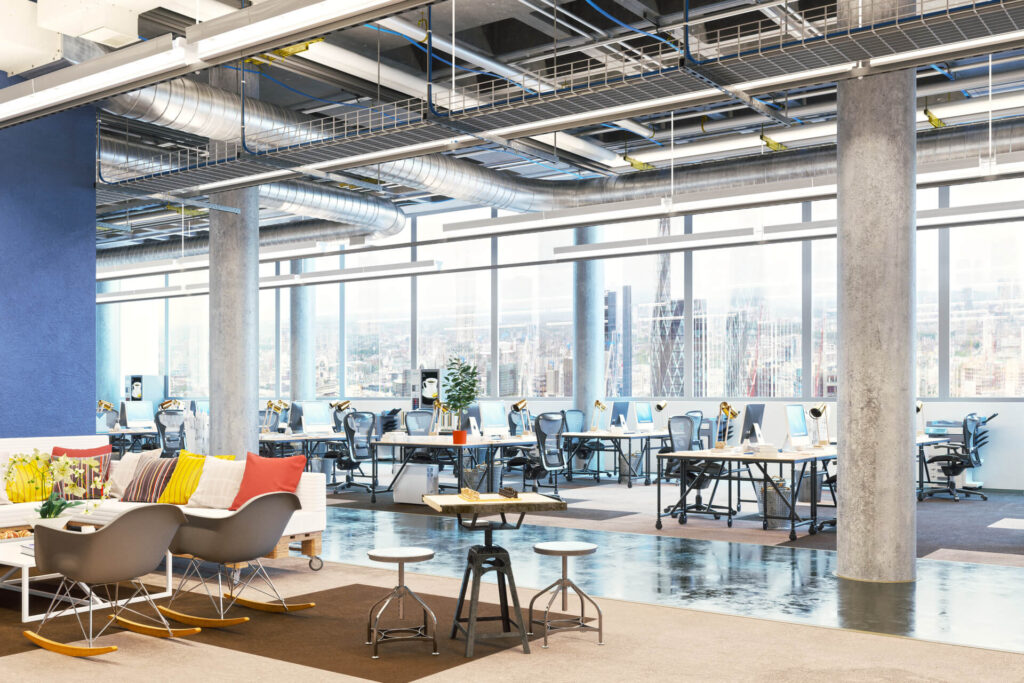 Office workplace. Modern office interior. Office room. Business center.